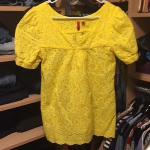 Yellow Lace Top Saks off Fifth